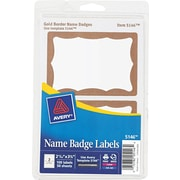 Avery® 5146 Printable Self-Adhesive Name Badge Label, Gold Border, 2 11/32(W) x 3 3/8(L), 100/Pack