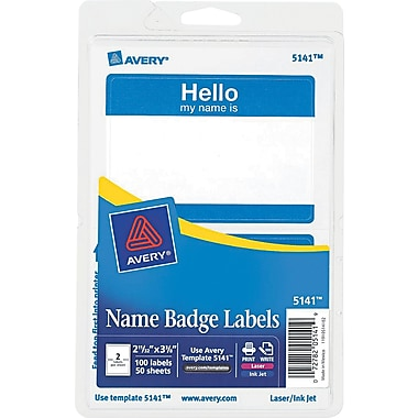Avery  5141 Printable Self-Adhesive Name Badge Label, Blue Border, 2 11/32in.(W) x 3 3/8in.(L), 100/Pack
