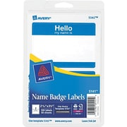 Avery  5141 Printable Self-Adhesive Name Badge Label, Blue Border, 2 11/32(W) x 3 3/8(L), 100/Pack