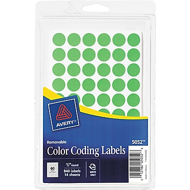 Avery  05052 Removable Self-Adhesive Round Paper Color-Coding Label, Green, 1/2in.(Dia), 840/Pack