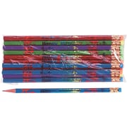 Moon Products Woodcase Pencil, HB-Soft, No. 2 Lead, Assorted Barrel, Happy Birthday, 12 / Pack