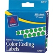 "Avery  05791 Permanent Self-Adhesive Round Color-Coding Label, Green, 1/4""(Dia), 450/Pack"