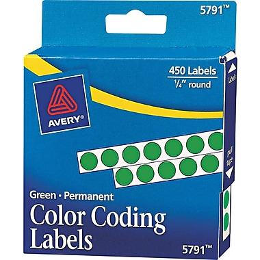 Avery  05791 Permanent Self-Adhesive Round Color-Coding Label, Green, 1/4in.(Dia), 450/Pack