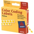 Avery  05792 Permanent Self-Adhesive Round Color-Coding Label, Yellow, 1/4in.(Dia), 450/Pack