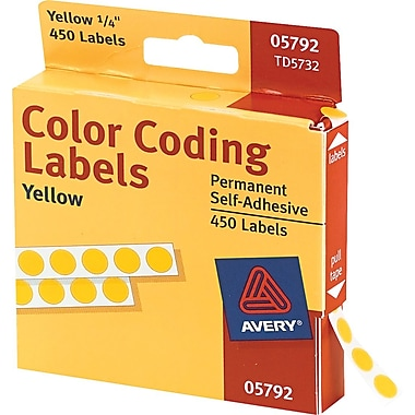 Avery 05792 Permanent Self-Adhesive Round Color-Coding Label, Yellow, 1/4