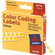 Avery  05792 Permanent Self-Adhesive Round Color-Coding Label, Yellow, 1/4(Dia), 450/Pack
