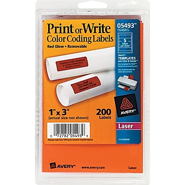 Avery® 05493 Print Or Write Removable Color-Coding Label, Neon Red, 1in.(W) x 3in.(L), 200/Pack