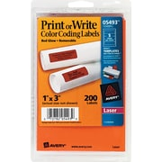 Avery® 05493 Print Or Write Removable Color-Coding Label, Neon Red, 1(W) x 3(L), 200/Pack
