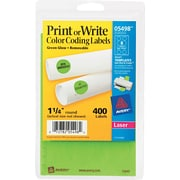 Avery  05498 Print Or Write Removable Color-Coding Label, Neon Green, 1 1/4(Dia), 400/Pack