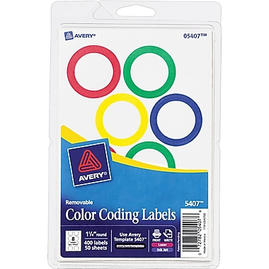 Avery  05497 Print Or Write Removable Color-Coding Label, Neon Red, 1 1/4in.(Dia), 400/Pack