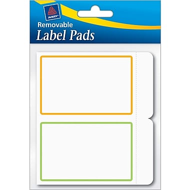 Avery® Removable Label Pad, White, Neon Green/Orange Borders, 2in.(W) x 3in.(L)