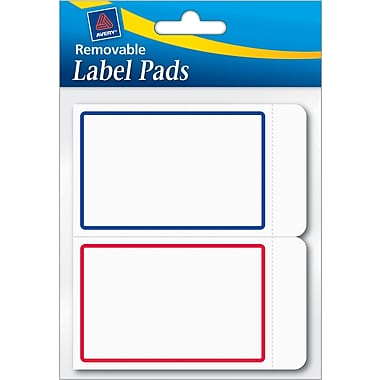 Avery® Removable Label Pad, White, Blue/Red Borders, 2in.(W) x 3in.(L)