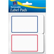 Avery® Removable Label Pad, White, Blue/Red Borders, 2(W) x 3(L)