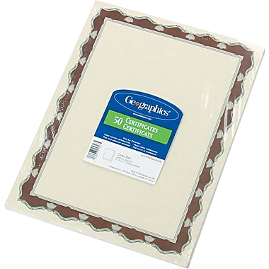 Geographics® Acid-Free Parchment Paper Certificate, 8 1/2in.(H) x 11in.(W), Red Crown Border