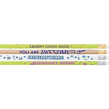 Moon Products Woodcase Pencil, HB-Soft, No. 2 Lead, Motivational Assortment Barrel, 144 / Pack
