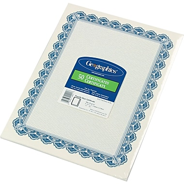 Geographics® Acid-Free Parchment Paper Certificate, 11in.(H) x 8 1/2in.(W), Blue Royalty Border