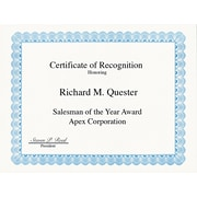 "Geographics ® Certificate For Copiers, Laser And Inkjet Printers, Blue, 8 1/2""(W) x 11""(L), 50/Pack"