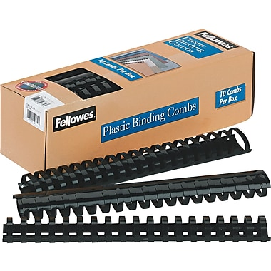 Fellowes® Plastic Comb Binding, 1 1/2in.(Dia), 340 Sheets, Black