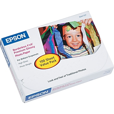 Epson Premium Borderless Photo Paper, 4in.x6in., Glossy Finish