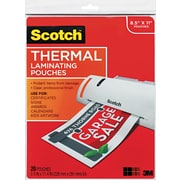 "Scotch® Laminating Pouch, 3 mil, 11 1/2""(H) x 9""(W), 20/Pack"