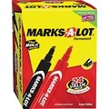Marks-A-Lot® Permanent Marker, 3/16in. Large Chisel Tip, Assorted, 24/Set