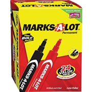 "Marks-A-Lot® Permanent Marker, 3/16"" Large Chisel Tip, Assorted, 24/Set"