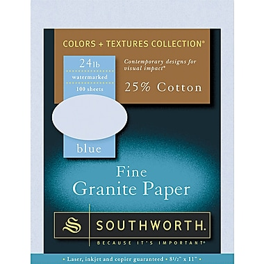 Southworth ® 25% Cotton Granite Specialty Paper, Blue, 8 1/2in.(W) x 11in.(L), 100/Pack