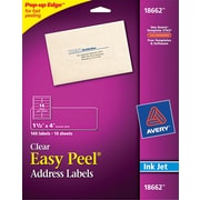 "Avery 1.33"" x 4"" Inkjet Easy peel Address Labels, Clear, 10/Pack (18662)"