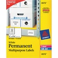 Avery ® 6572 White Permanent Durable ID Label With TrueBlock ® Technology, 2in.(W) x 2 5/8in.(L), 225/Pack