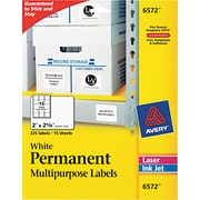 "Avery ® 6572 White Permanent Durable ID Label With TrueBlock ® Technology, 2""(W) x 2 5/8""(L), 225/Pack"