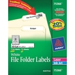 Avery® 75366 White Permanent Paper File Folder Label, 2/3in.(W) x 3 7/16in.(L), 1800/Box