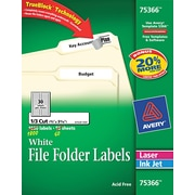 "Avery® 75366 White Permanent Paper File Folder Label, 2/3""(W) x 3 7/16""(L), 1800/Box"
