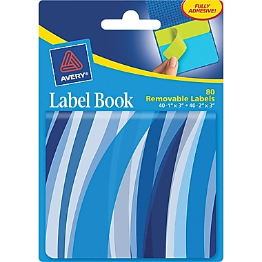 Avery® 22072 Removable Label Pad Book, 1in.(W) x 3in.(L) Neon Blue, 2in.(W) x 3in.(L) Neon Green, 80/Pack