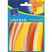 Avery® 22070 Removable Label Pad Book, 1(W) x 3(L) Neon Yellow, 2(W) x 3(L) Neon Orange, 80/Pack