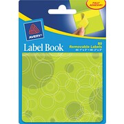 Avery® 22065 Removable Label Pad Book, 1(W) x 3(L) Neon Yellow, 2(W) x 3(L) Neon Green, 80/Pack