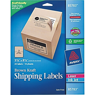 Avery® 85783 Brown Kraft Shipping Label, 5 1/2in.(W) x 8 1/2in.(L), 20/Pack