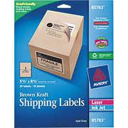 Avery® 85783 Brown Kraft Shipping Label, 5 1/2(W) x 8 1/2(L), 20/Pack