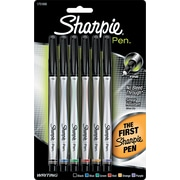 Sharpie ® Permanent Ink Pen, 0.5 mm Fine Plastic Tip, Assorted, 6/Pack