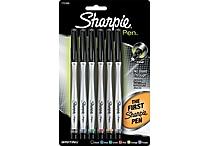 Sharpie ® Permanent Ink Pen, 0.5 mm Fine Plastic Tip, Assorted, 6/Pack