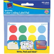 "Avery ® 45472 Paper Label Pad, Assorted, 3/4""(Dia), 480/Pack"