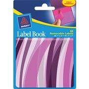 Avery® 22071 Removable Label Pad Book, 1(W) x 3(L) Neon Purple, 2(W) x 3(L) Magenta, 80/Pack