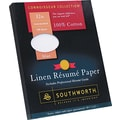 Southworth  100% Cotton Premium Weight Linen Resume Paper, Blue, 8 1/2in.(W) x 11in.(L), 100/Box