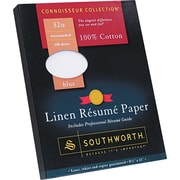 Southworth  100% Cotton Premium Weight Linen Resume Paper, Blue, 8 1/2(W) x 11(L), 100/Box
