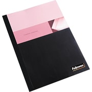 "Fellowes® Linen Texture Presentation Cover, 9 3/4""(W) x 11 1/8""(L), Clear/Black"