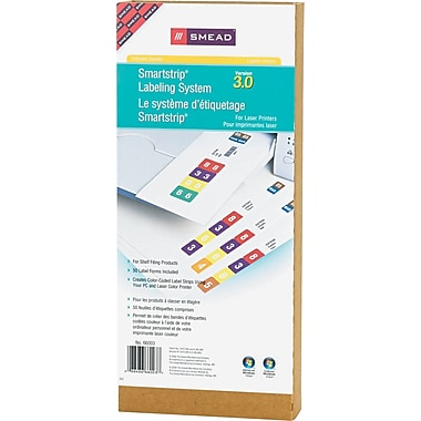 Smead® SmartStrip® 66003 White Laminated Paper Starter Pack, 1 1/2