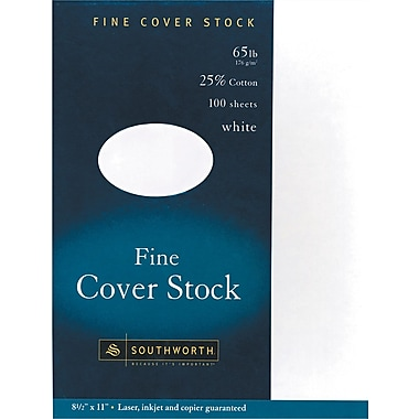 Southworth ® 25% Cotton Bond Cover Stock, White, 8 1/2in.(W) x 11in.(L), FSC