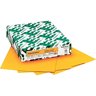 Wausau Paper  Astrobrights  Colored Card Stock, Galaxy Gold , 8 1/2in.(W) x 11in.(L), 250 Sheets
