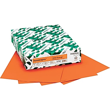 Wausau Paper  Astrobrights  Colored Card Stock, Orbit Orange , 8 1/2in.(W) x 11in.(L), 250 Sheets