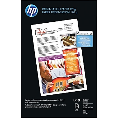 HP Glossy Color Laser Presentation Paper, White, 11in.(W) x 17in.(L), 250 / Pack