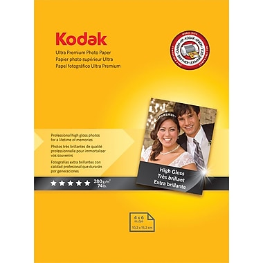 Kodak Ultra Premium Photo Paper, White, 4in.(W) x 6in.(L), 20/Pack